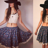 Vintage 1970's Cropped Gypsy Blue Floral Lace Trim Skirt