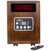 Infrared Space Heater 1500W with Remote with Dark Walnut Wood Cabinet