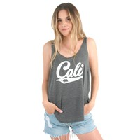 California Republic Cali Logo Side Slit Tank Top in Dark Grey