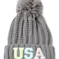 Gray Neon Letter Embroidery Ball Top Knitted Beanie