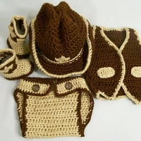Western Hat and Boots Set-4 Pc.-Baby Cowboy Gift Set--Baby Shower Gift