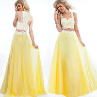 Elegant Long Dress Women For Graduation Evening Ball Gown To Party Puffy Ballkleider Vestidos De Gala 2 Two Piece