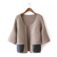 None Button Faux Leather Patch Sleeve Cardigan