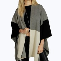 Clara Colour Block Knitted Cape
