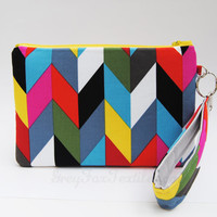 Colorful Chevron Wristlet / Clutch / Cosmetic Case Handmade in designer fabric