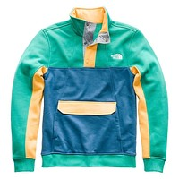 Men's Alphabet City Fleece Pullover in Porcelain Green, Dish Blue & Amber by The North Face