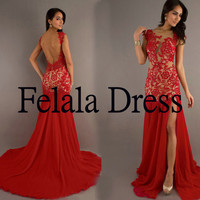 Lace prom dress2014 - long party dress / chiffon party dress/ Sexy prom dress /long formal evening dress / red party dress / prom dress 2014