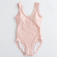 High quality pure pink scalloped type backless one piece bikini show thin