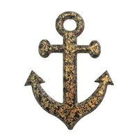 Anchor Wall Decor nautical wall hanging hand painted metallic faux finish granite in black and antique gold wooden anchor for beach decor