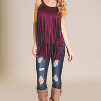 Suede, Fringe And Studs Detailed Tank Top (Wine)