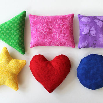 Rainbow Shape Bean Bags (set of 6) Triangle Circle Rectangle Blue Green Red Pink Kindergarten Preschool Playtime Toys - US Shipping Included