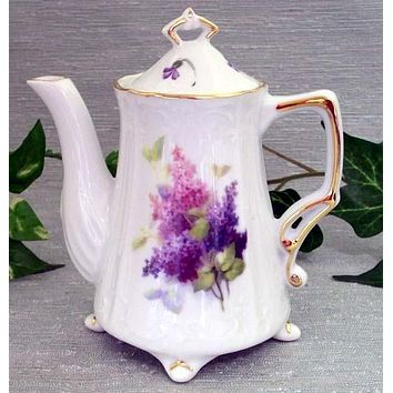 Antique Footed Lilac Spray Porcelain Teapot