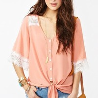 Laced Tie Top - Peach in  Clothes Tops Shirts + Blouses at Nasty Gal
