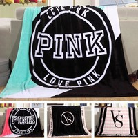 KNITTED&HOME Fleece Blanket Pink VS Secret Blanket Manta  Sofa/Bed/Plane Travel Plaids Bedding Towel Set