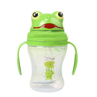 240ML High capacity Removable children cups With straw For kindergarten Sliding frog shape cover + Two handles Leak-proof design