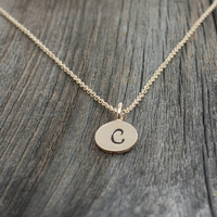 Initial Necklace - Personalized Jewelry . Gold Initial Charm . Mother's Necklace . Holidays, Christmas Gifts for New Mom