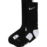 Nike Boys' Elite Basketball Crew Socks - Black/White S