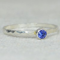 Dainty Silver Sapphire Ring