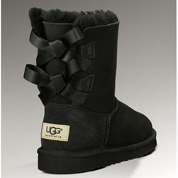 UGG:: bow leather boots boots in tube-7