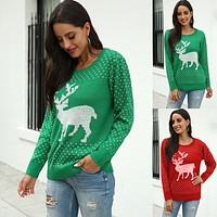 Autumn and winter snow deer jacquard Christmas T-shirt