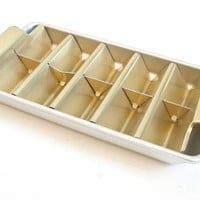Vintage Ice Cube Tray, Anodized Aluminum Gold Tone Triangular Ice Cube Maker, 1960s