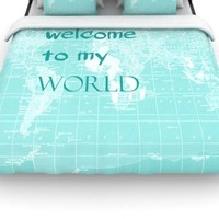 Kess InHouse Catherine Holcombe 'Welcome to My World Quote' 88 by 88-Inch Duvet, Queen