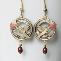 Hummingbird Jewelry Hummingbird Earrings Vintage Jewelry Vintage Earrings Bird Jewelry Bird Earrings Nature Jewelry Women Jewelry Gift Hoops