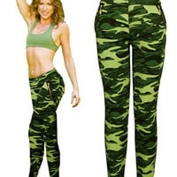 Yoga GYM Sport Work Out Camouflage Print Leggings Pants