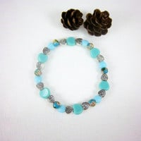 Blue Glass Heart Stacking Stretch Bracelet Valentines Day Cottage Chic Jewelry