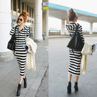 Fashion Womens Winter V-neck Striped Hoodie Casual Maxi Long Bodycon Dress = 1956555204
