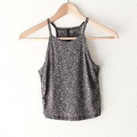 Ribbed Knit Crop Top - Grey