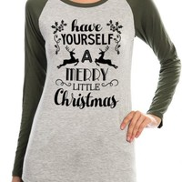 Merry Christmas Top - Olive Green/Gray