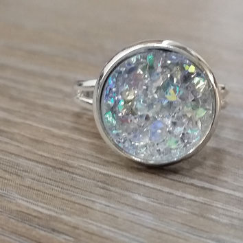 Druzy Ring- ab light grey drusy silver tone druzy ring