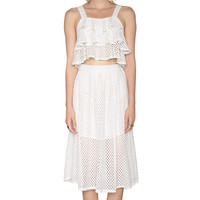 Mesh Lace A-Line Pleated Midi Skirt