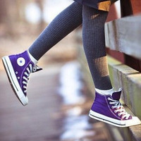 """Converse"" Fashion Canvas Flats Sneakers Sport Shoes High tops Purple"
