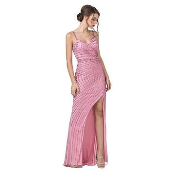 Pink Sequins Long Prom Dress with V-Neck and Slit