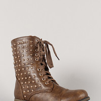 Davina-01 Round Toe Military Lace Up Bootie