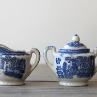 Vintage Japanese blue willow mini sugar creamer set / cottage chic decor / collectible decor / white / blue / Asian Victorian style / rustic