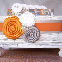 Wedding Guest Book Box- Orange and Gray, White Shabby Chic Box, Vintage inspired, custom colors available