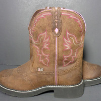 Justin Gypsy Brown Leather Cowgirl Cowboy Western Boots Women's Size 10