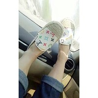 LV GUCCI New Summer Fashion Women Comfortable Print Casual Slippers Sandals Flats Shoe White I12205-1