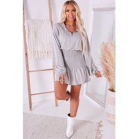 Hit The Courts Smocked French Terry Dress (Heather Grey)