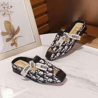 Dior women's shoes summer fashion bow D letter printed sandals