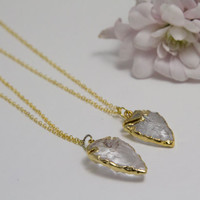 Petite Gold Quartz Crystal Arrowhead Necklace - Luxe, Geode, Gemstone, Arrow Head Necklace