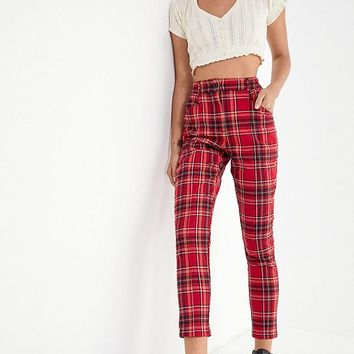 UO Cece Plaid Mom Pant   Urban Outfitters