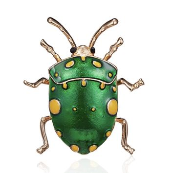 Green Enamel Beetle Brooch Pin for Women