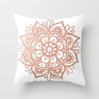 Rose Gold Mandala Throw Pillow by Julie Erin Designs | Society6