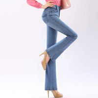 Fashion New Dark / light blue high waisted jeans skinny easy flare jeans femme plus size 5XL denim pants Women