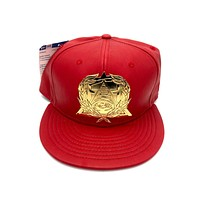 New Era x Secret Society Scarlet Leather Gold Eye Logo Medallion Strapback Hat