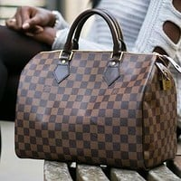Louis Vuitton LV Classic Check Pattern Print Pillow Bag Fashion Ladies Clutch Shoulder Messenger Bag
